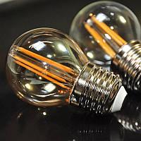 """LED лампа Эдисона P-45  (4w) E-27  (AMBER) """"NEW"""" filament"""