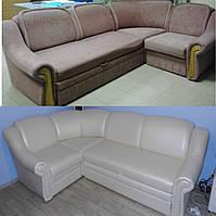 Перетяжка углового дивана кожзаменителем