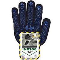 Перчатки трикотажные черные с ПВХ рисунком, Doloni