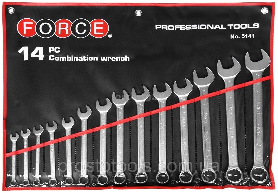 Набор рожково-накидных ключей  10-32 мм 14 ед   Force  5141 F