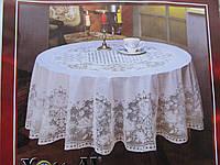 Скатерть виниловая с ажурным рисунком круглая d-150см