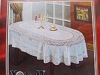 Скатерть виниловая с ажурным рисунком овальная 135*180см