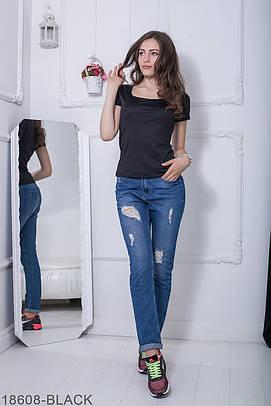Жіноча чорна футболка Fanny (XS-XXL)