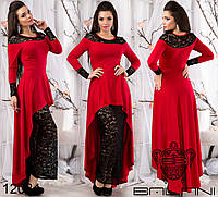 Шикарное платье в пол с двойной юбкой, выполнено из комбинированных материалов.