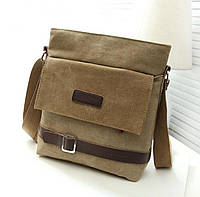 Стильная тканевая мужская сумка. Песочная (Хаки)тканевая мужская сумка