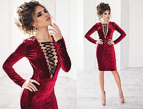 """Нарядное велюровое платье миди """"Анюта"""" со шнуровкой на груди (3 цвета)  , фото 3"""