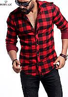 Мужская рубашка красного цвета в клетку, фото 1