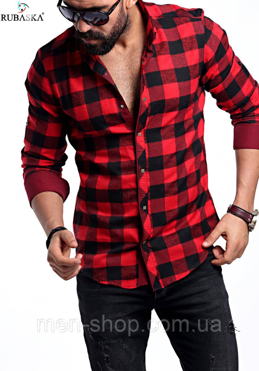 9d0239643ca5ab3 Мужская рубашка красного цвета в клетку, цена 399 грн., купить в ...