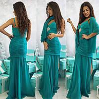 Вечернее нарядное платье с шифоновой юбкой и украшением брошка , глубокое декольте