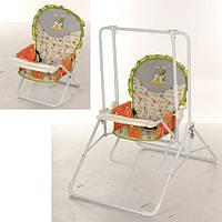 Детские качели 2в1(стульчик) BAMBI QS01-5 зелено-оранжевая