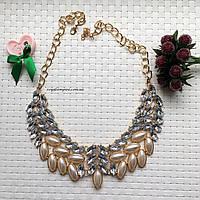 """Ожерелье """"Анджели"""" нарядное с кристаллами, розового цвета."""