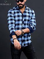 Мужская рубашка голубого цвета в клетку, фото 1