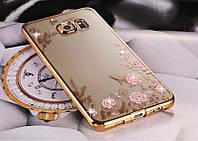 Cиликоновый золотистый чехол-накладка с розовыми цветами и камушками Сваровски для Samsung Galaxy J5 2016