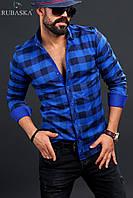 Мужская рубашка синего цвета в клетку, фото 1