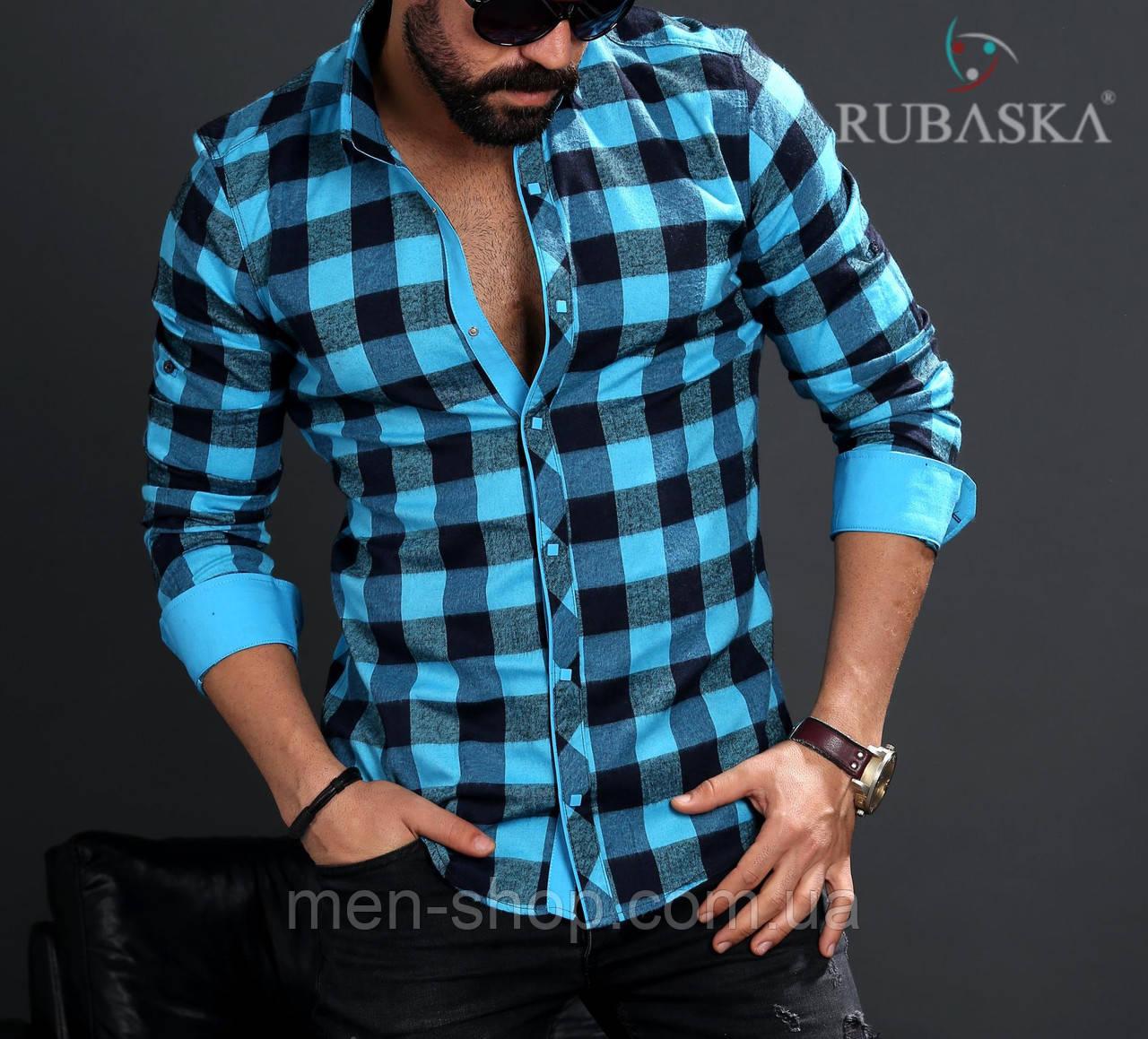 Мужская рубашка бирюзового цвета в клетку