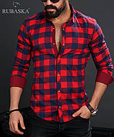 Мужская рубашка ярко-красного цвета в клетку, фото 1