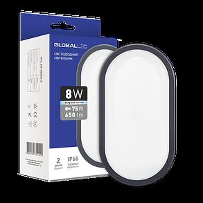 Светодиодный cветильник для ЖКХ GLOBAL HPL-002-Е 8W накладной 5000K овал серый IP65 Код.58806, фото 2