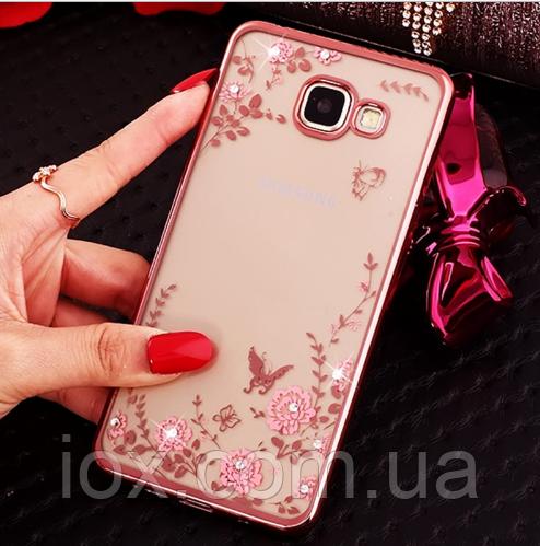 Рожевий силіконовий чохол з камінчиками Сваровскі для Samsung Galaxy A3 2016