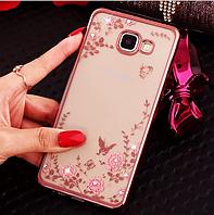 Рожевий силіконовий чохол з камінчиками Сваровскі для Samsung Galaxy A3 2016, фото 1