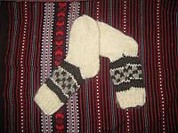 Носки женские вязаные из шерсти белые, серый орнамент ручная работа 37-38