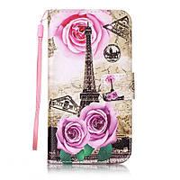 Чехол книжка TPU Wallet Printing для LG K10 K410 Eiffel Tower Roses