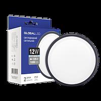 Светодиодный светильник для ЖКХ GLOBAL HPL-003-С 12W накладной 5000K круглый серый IP65 Код.58807