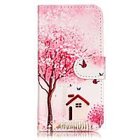 Чехол книжка TPU Wallet Printing для LG K4 K120 Tree Butterfly House