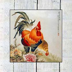 Магнит двусторонний петух с курицей в цветах