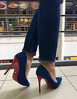 Элегантные женские туфли на высоком каблуку (11 см). Цвет синий, подошва и каблук красные