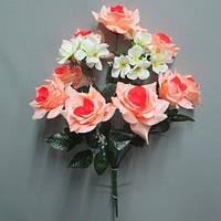 Роза с геранью (8+2 голов) букет искусственный