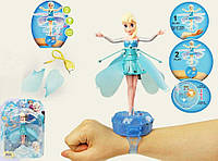 Летающая кукла Эльза из м/ф «Frozen» BF-105E-1, свет, звук, часы-пульт, зарядка через USB, 15х18 см