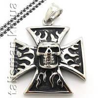 Кулон AST08 - Мальтийский крест с черепом
