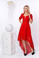 Красное платье с удлиненной спинкой