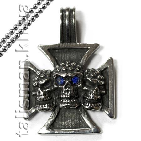 Кулон AST12 Крест мальтийский с черепами