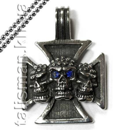 Кулон AST12 Крест мальтийский с черепами, фото 2
