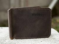 Стильный зажим для денег из натуральной винтажной кожи Money Keeper brown