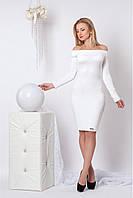 Белое платье с красивым вырезом лодочка