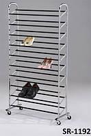 Полка обувная металлическая передвижная SR-1192, стойка 10-ярусов для торговых залов и для дома