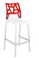 Барный стул Papatya Ego-Rock белое сиденье, верх прозрачно-красный, фото 1