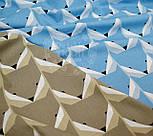 Ткань хлопковая с геометрическим рисунком в форме мордочек лисичек (голубая) №541 б, фото 3
