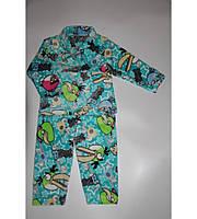 Пижама Детская Angry Birds на Двух Пуговках Очень Теплая Цвет Малина Рост 80-122 см