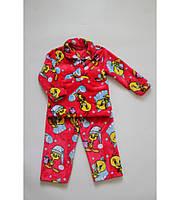 Пижама Детская Утенок на Двух Пуговках Очень Теплая Цвет Малина Рост 80-122 см