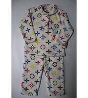 Пижама Детская Louis Vuitton на Двух Пуговках Очень Теплая Цвет Малина Рост 80-122 см