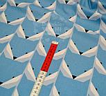 Ткань хлопковая с геометрическим рисунком в форме мордочек лисичек (голубая) №541 б, фото 4