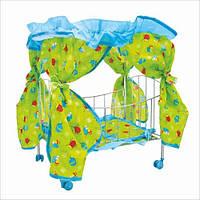 Кроватка для куклы с балдахином 9350: металл, подушка, матрац, колеса 3,5 см, 60х29х56 см