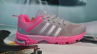 Женские кроссовки Adidas Marathon TR 26 серые с розовым
