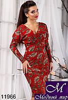 Приталенное женское платье с цветочным принтом (р. S, M, L) арт. 11966