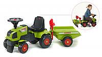 Трактор каталка с прицепом лопатка+грабли Claas Axos Falk зеленый