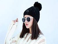 Черная женская шапка с помпоном. Стильная шапка. Высокое качество. Доступная цена. Код: КГ21