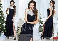 Платье в пол с украшением бусы-подвески